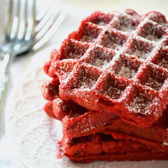 Red Velvet Waffles are perfect for Valentine's Day, and can even be made gluten free.