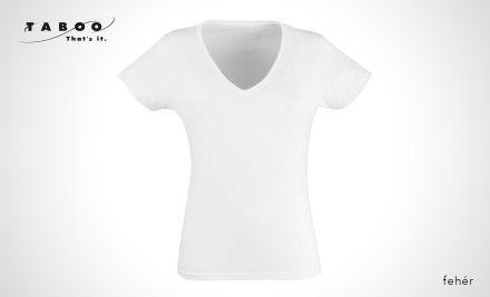 V-nyakú női karcsúsított póló