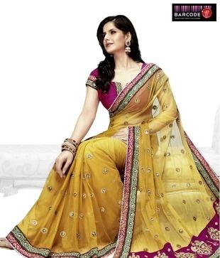 Designer Wear Yellow And Fuchsia Net-Raw Silk Saree http://www.snapdeal.com/product/women-apparel-sarees/DesignerWe-86821?pos=5;1219?utm_source=Fbpost_campaign=Delhi_content=187495_medium=180512_term=Prod