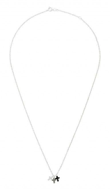Rose goud gekleurde dames ketting Deze prachtige ketting is van Sterling 925 Zilver, en is voorzien van drie verschillend gekleurde kruisjes. Alle drie de kruisjes zijn versiert met kleine steentjes. Deze ketting heeft een lengte die je zelf kan afstellen tussen 42 en 45 centimeter.  Deze ketting is er ook in een andere variant. DeKetting met ankertje, hartje en kruis.