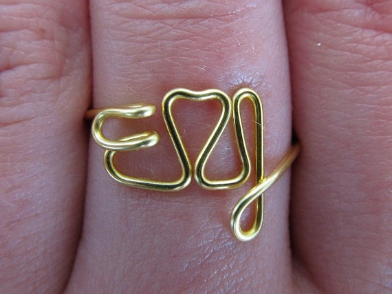 Gold Letter Wire Ring  Personalized Wired Letters by WiredLetters