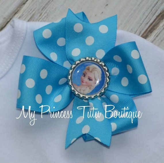 Elsa+Frozen+Bow+Girls+Frozen+Bows+Pinwheel+by+MyPrincessTutuBoutiq,+$8.00