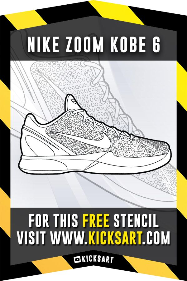 Nike Zoom Kobe 6 Stencil Free Stencils Coloring Pages Air Max 180