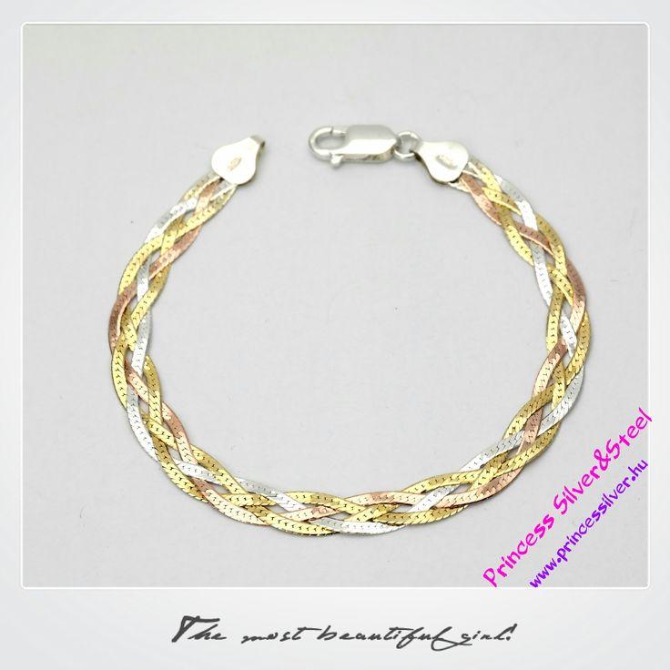 Álomszép tricolor aranyozott ezüst karkötő. www.princessilver.hu