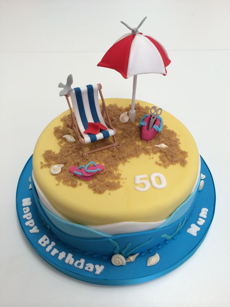 Cute beach themed cake complete with Sun umbrella, deckchair and of course flip flops!