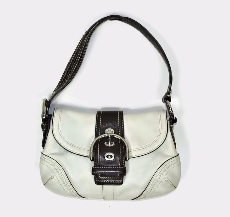 Coach White Brown Leather Women's Soho Hobo Buckle Flap Shoulder Bag 10577
