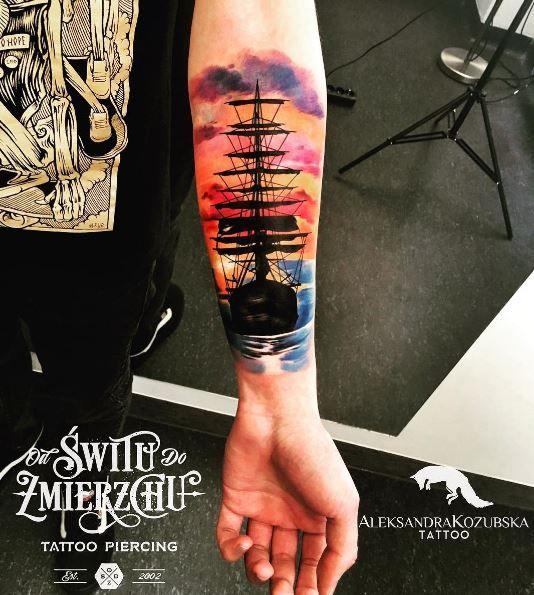 Watercolor Sunset Tattoo