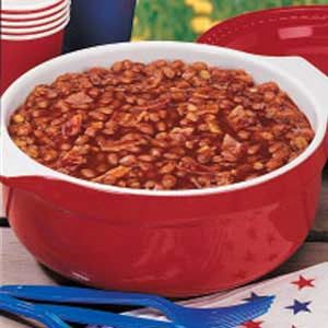 Country Baked Beans Recipe (canned baked beans, chili sauce, bacon, chopped onion, 1 c. brown sugar)