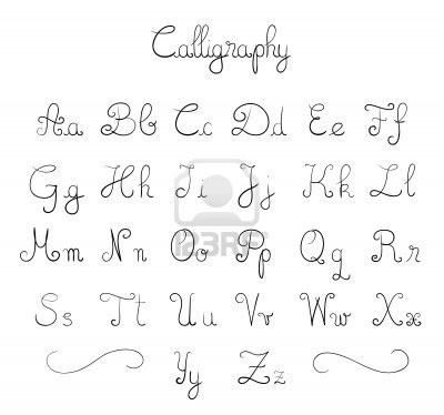 Mano font calligrafici disegnato  Archivio Fotografico - 7412259
