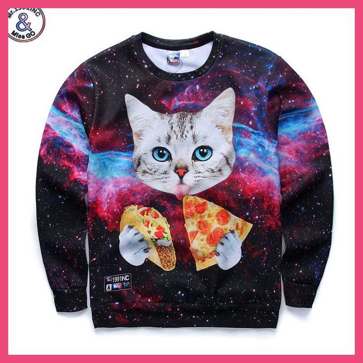 Mr.1991 brand fashion youth Spring Autumn thin sweatshirts girls big kids funny 3D pizza kitten printed jogger hoodies boy W2