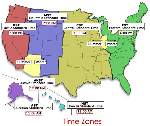 Us Map Divided Into Time Zones - Time zones in the usa map