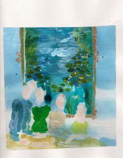 Karoliina Hellberg: Perhe ja lummetaulu, 2015, watercolour and acrylic paint on paper, 28x30 cm
