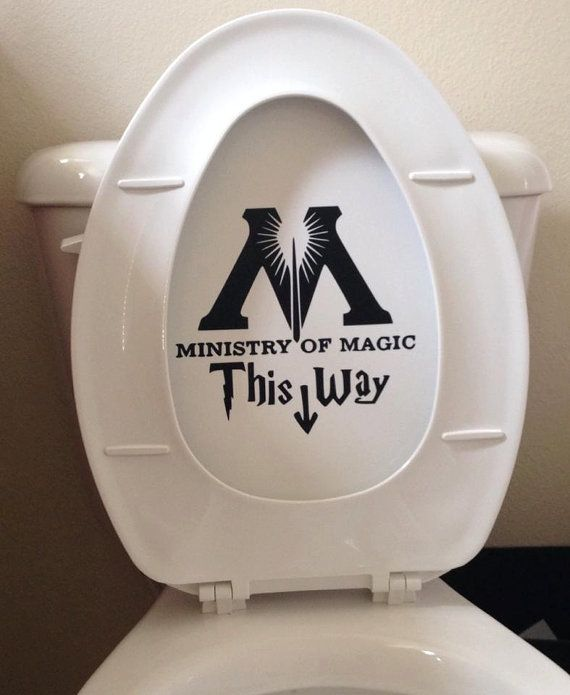 This Ministry of Magic bathroom toilet decal sticker is a cheap and funny parody of Harry Potter .