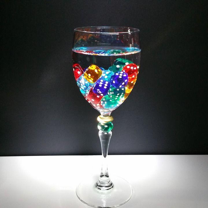 Kubus, Glas, Geluk, Geluksdobbelstenen, Wijnglas