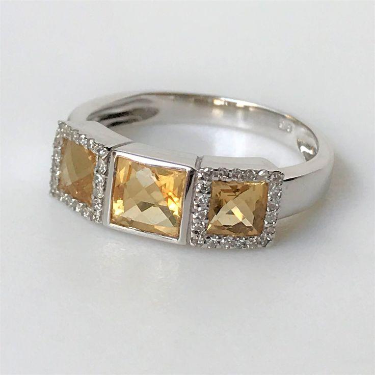 9ct White Gold Citrine& Diamond Ring