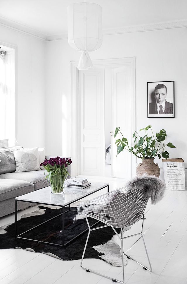 industrial style white living room and gray