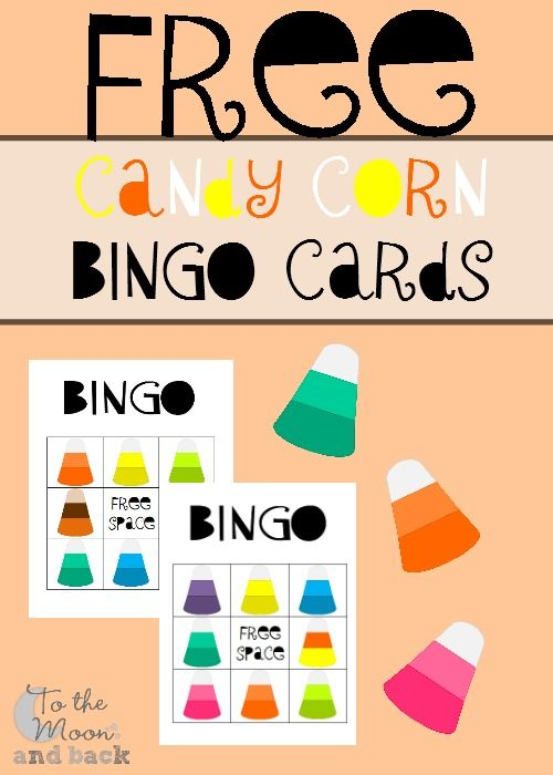 A FREE four pack of printable Bingo cards featuring colorful candy corn.