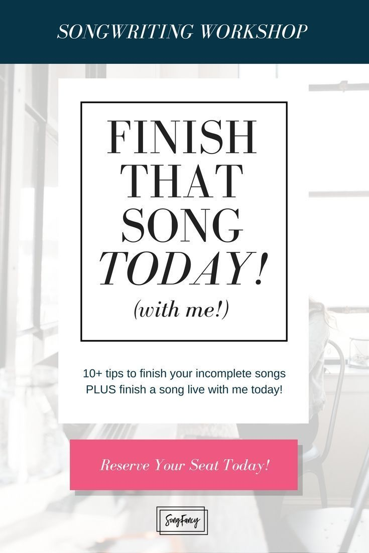 SONGWRITING WORKSHOP! Bring an unfinished song to this workshop and we'll finish it up together. PLUS: My 10 best tips to get you through those songs you're stuck on! | SongFancy.com, Songwriting inspiration & education for contemporary female songwriters