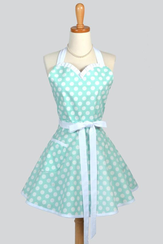 Sweetheart Pin Up Womans Apron - Mint Blue Polka Dot Cute and Flirty Womans Vintage Inspired Sexy Hostess Kitchen Cooking Apron with Pockets