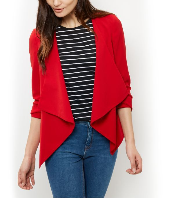 Red Ruched Sleeve Waterfall Blazer  | New Look