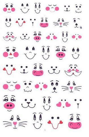 draw or paint a simple faces, eyes, mouths . . . Crafty!