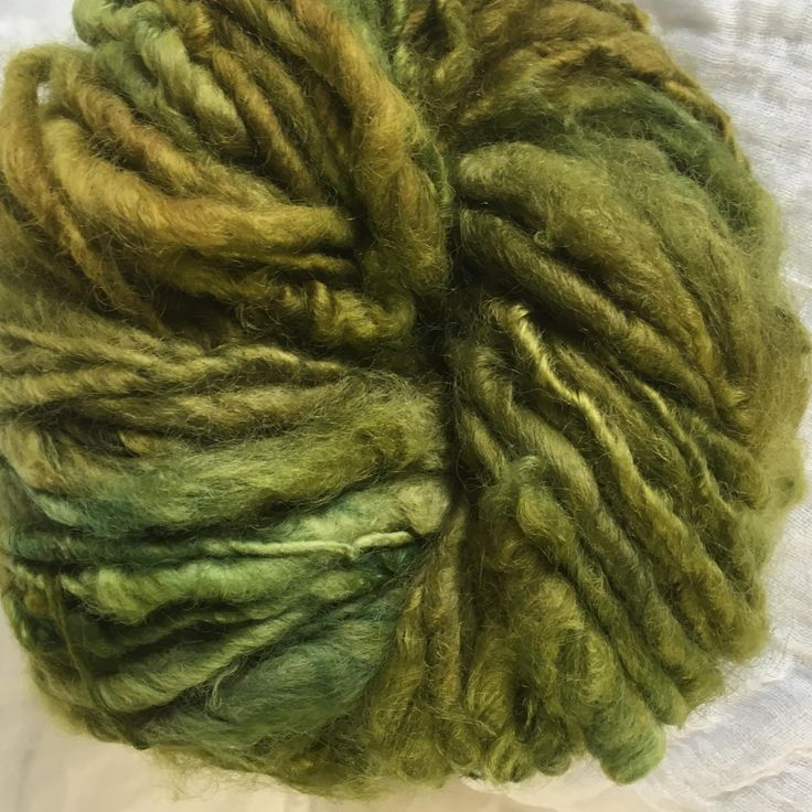 Olive English Leicester  Handspun Chunky Yarn by hawthornecottage on Etsy