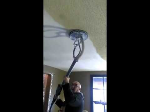 Man Removes Ugly Popcorn Ceiling In Just Seconds… With Zero Mess using Porter-Cable 7800 Drywall Sander