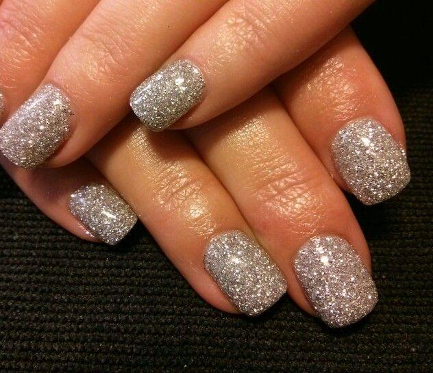 Silver glitter gel nails