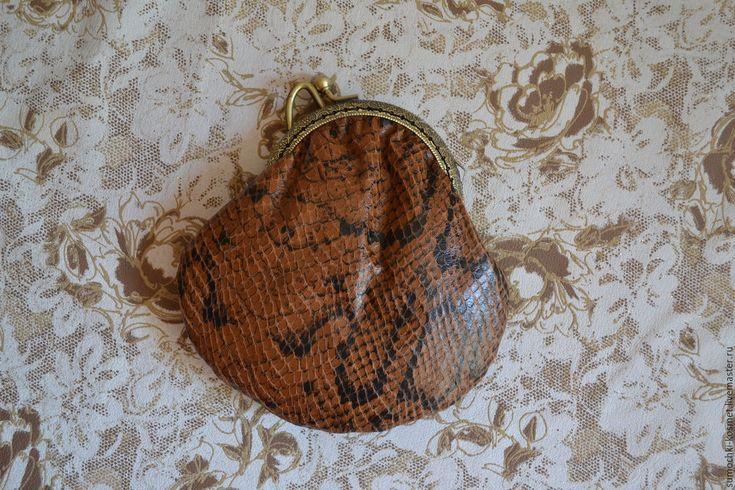 Купить Кошелек из натуральной кожи со змеиным принтом - коричневый, звериная расцветка, змеиный принт