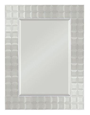 Miroirs tuiles biseaut�s sont dispos�es en une rang�e double avec un fine bordure en argent, formant un beau cadre contemporain. �Elle dispose d'un miroir central biseaut�.