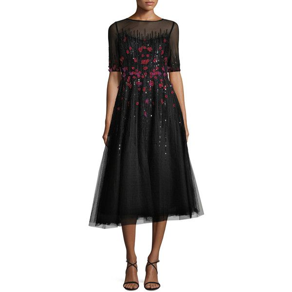 Rickie Freeman For Teri Jon 3/4-Sleeve Florals Beaded Tulle Cocktail... (40,085 PHP) ❤ liked on Polyvore featuring dresses, black, a line dress, tea length cocktail dresses, a line tea length dress, 3/4 sleeve cocktail dress and high neck cocktail dress