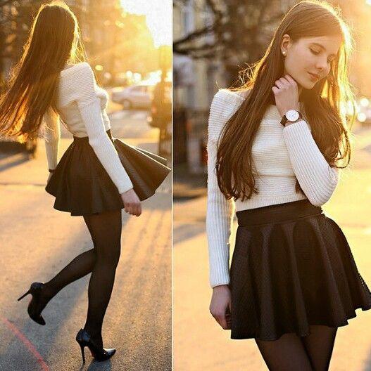 Falda con medias