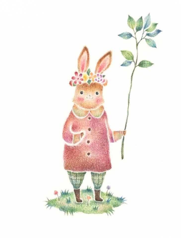 """""""Rabitt's Saroni"""" −RiLi, picture book, illustration, design ___ """"うさぎのサロニ"""" −リリ, 絵本, イラスト, デザイン ...... #rabitt #leaf #うさぎ #葉"""