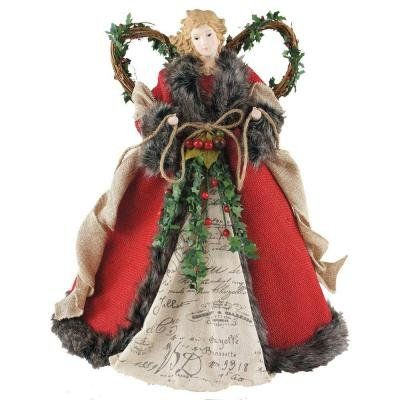 Amazon.com - Santa's Workshop 16 in. Angel Tree Topper Red Homespun with Garland -