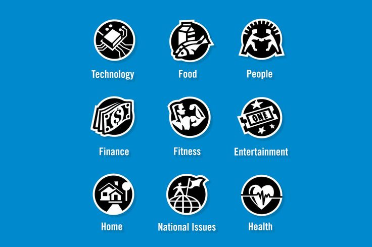 "General Icon Designs - ""Technology, Food, People, Finance, Fitness, Entertainment, Home, National Issues, Health"" - Custom Icons"