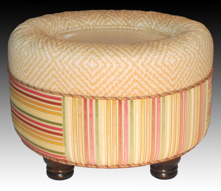 'Buttercup' - our pat.pend. round CROWN ottoman that combines a fabulous footrest, clever storage, elegant extra seating, and chic tabletop all in one 'masterpiece'...no tray required!
