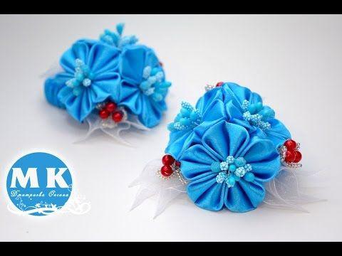 Мастер-класс Канзаши.Резинка для волос.Букетики из цветов Канзаши/Scrunchy.Flower kanzashi. - YouTube