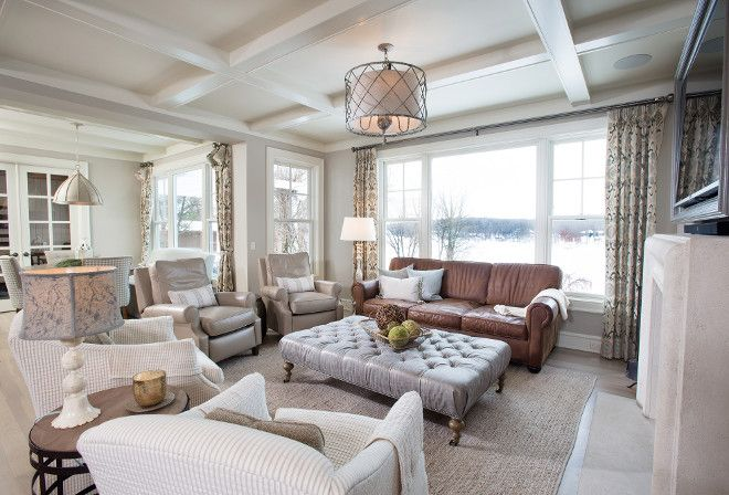 Neutral kitchen reno with a rustic touch - Benjamin moore revere pewter living room ...