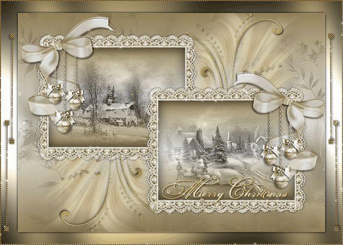 Grote animatie van een kerk - Merry Christmas met twee kerstkaarten met witte strikken met een boerderij en een dorp met huizen en een kerk in de sneeuw