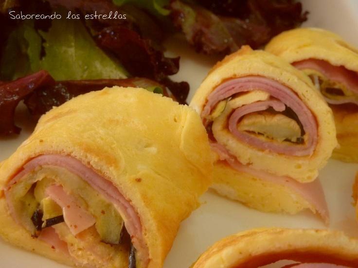 Rollitos de tortilla con jamón