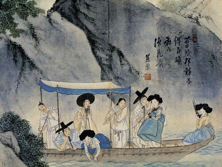 신윤복 주유청강(舟遊淸江)