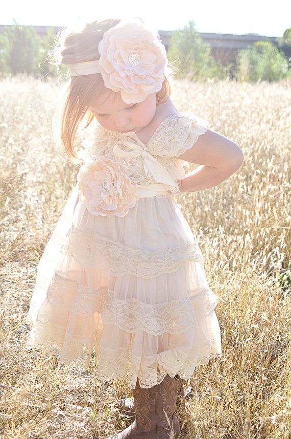 Champagne Flower Girl Dress Lace Pettidress by CountryCoutureCo