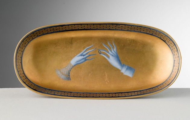 Gio Ponti, Jewellery box, designed 1924, executed 1929. Porcelain with colourful blue and gold details, hand-painted by Ponti. ForRichard-Ginori, Italy. Via abitare