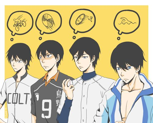 Sport Animes from Left to Right: Yowamushi Pedal, Haikyuu, Ace of Diamond, and Free! Iwatobi Swim Club