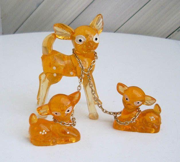 Vintage Figuren - Rehfamilie, orange-transparent, Plastik, 70er - ein Designerstück von Speicherfunde bei DaWanda
