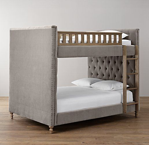 Available in Linen or antique velvet cChalk board wall behind Chesterfield Upholstered Full-Over-Full Bunk Bed | All Beds | Restoration Hardware Baby & Child