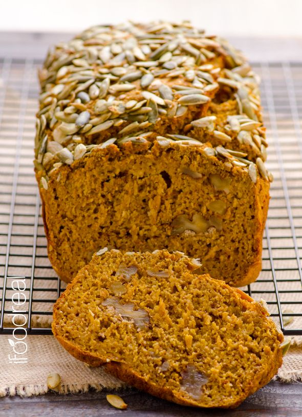 Moist Skinny Pumpkin Bread -- With almost twice less calories, fat and sugar than Starbucks recipe this bread is so healthy you can have it for breakfast! It's so skinny and still so moist!