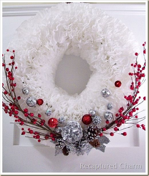 Coffee Filter Christmas Wreath - http://www.recapturedcharm.com/2011/12/coffee-filter-christmas-wreath.html