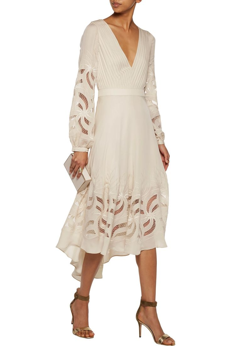 Haute HippieDo Right open-back tulle-paneled silk crepe de chine midi dress