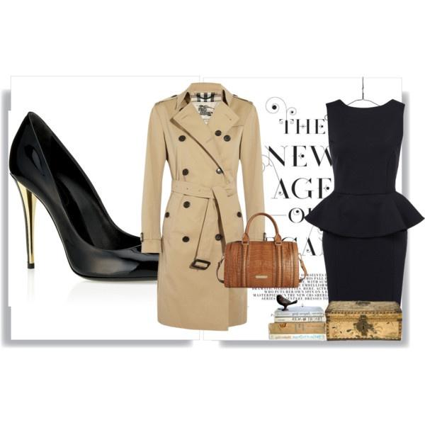 Look para este día nublado, un abrigo clásico, un vestido peplum, bolsa color caquí y unos tacones en negro con toque dorado. http://www.linio.com.mx/ropa-calzado-y-accesorios/?utm_source=pinterest_medium=socialmedia_campaign=12122012.lookdeldianubladovisible